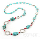 Wholesale Fashion Long Chain Loop Style Turquoise And Alaqueca Strand Necklace, Sweater Necklace