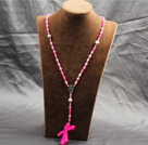Classic Design Fashion Long Y Shape Pink Frosted Banded Agate Necklace With Cross Shape Turquoise Pendant