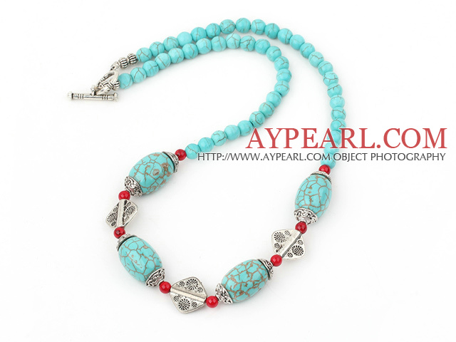 Fashion Blue Turquoise And Alaqueca Metal Charm Strand Necklace With Toggle Clasp