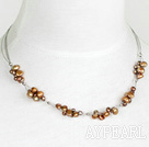 Wholesale 17.5 inches simple brown pearl necklace