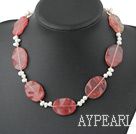 Elegant White Freshwater Pearl And Cherry Quartz Necklace With Moonight Clasp