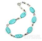 pärla kristall turkos halsband