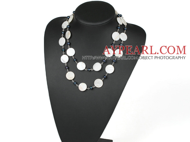 white shell and black pearl necklace
