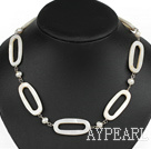 Fashion White Freshwater Pearl And Fillet Shell Loop Strand Necklace With Extendable Chain