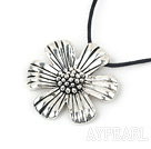 Simple Style Flower Shape Tibet Silver Pendant Necklace With Black Cord