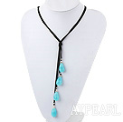 Elegant 4-Piece Faceted Teardrop Blue Jade Pendant Necklace With Hand Knotted Black Cords