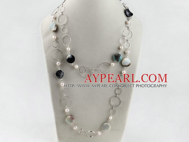 43.3inches fashion long style pearl and amazon stone necklace with metal loop