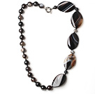 eye shape black agate necklace with moonlight clasp