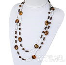 47.2 inches fashion long style tiger eye and smoky quartze necklace with metal loop