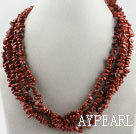 multi strand finely cut red stone necklace with gem clasp