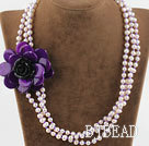 Wholesale Three Strands White FW Pearl and Purple Shell Flower Necklace