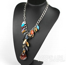 Y shape multi color gemstone necklace on metal chain
