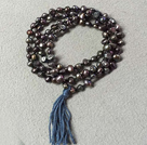 New Arrival Natural Black Potato Pearl Necklace With Deep Blue Tassel (Also can be Bracelet)