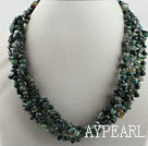 gorgeous multi strand finely cut agate beads necklace with gem clasp