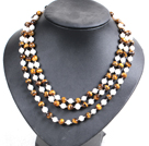 Beautiful 3 Strand Natural White Freshwater Pearl And Tiger Eye Beads Party Necklace With Shell Flower Clasp