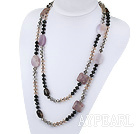 51.6 inches fashion long style crystal and multi color gemstone necklace