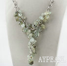 Prehnite Y Shape Necklace with Bold Style Metal Chain