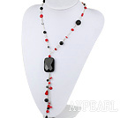 23.5 inches coral and agate Y shaped necklace