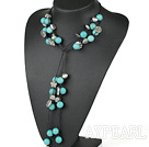 Fashon Round Blue Turquoise And Ccb Silver Like Charm Necklace With Black Thread