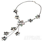 garnet black butterfly shell necklace