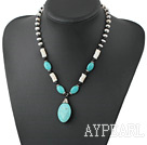 Wholesale Nice Black Stone White Disc Shell And Blue Oval Turquoise Pendant Necklace