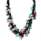 Multi Strands Assorted White Pearl and Red Coral and Turquoise Leather Necklace