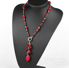Black crystal coral necklace