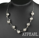 Favorite Imitation Silver Like Beads Knit Wired Strand Necklace With Lobster Clasp