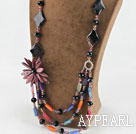 Wholesale Amazing beautiful crystal and agate and shell flower party necklace
