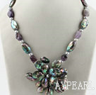 Wholesale Gray pearl and amethyst and abalone shell flower necklace