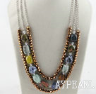 Amazing multi strand gole brown crystal and multi stone necklace