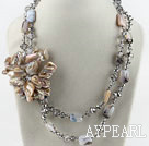 Wholesale Big style crystal and gray agate and shell flower party necklace