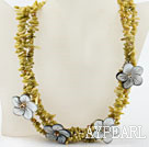 Multi strand lemon color coral chip and shell flower necklace