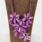 Wholesale Amazing Purple Crystal and Shell Flower Party Necklace
