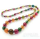 Assorted Multi Color Multi Crystal Graduated Beaded Necklace