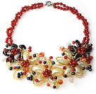 Wholesale 2013 Summer New Design Red Series Black Freshwater Pearl and Carnelian and Yellow Shell Flower Necklace