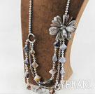 Wholesale Big Style Pearl Crystal and Gray Shell Flower Party Necklace
