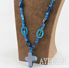 Wholesale Assorted Multi Shape Blue Agate Necklace With Corss Pendant