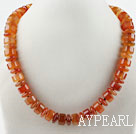 Wholesale Single Strand Cylinder Shape Red Agate Necklace