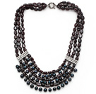 Multi Strand Garnet og Black FW Pearl Necklace