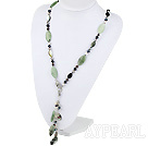 Wholesale Y Shape Pearl Crystal and Serpentine Jade Necklace