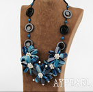 Wholesale exquisite 23.6 inches white pearl blue agate flower necklace
