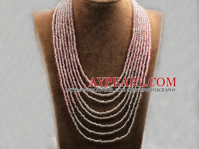 Multi Strands Multi Layered 4-5mm Pink and White Plastic Seed Necklace