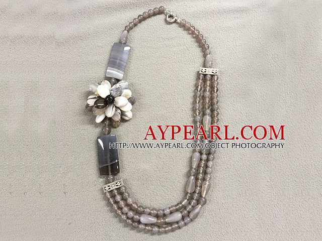 Graceful Multi Strand Gray Series Agate Flower Necklace (Flower can be a Brooch)
