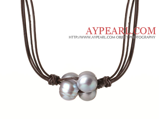 Fashion Simple Design 10-11mm Flower Shape Grey Pearl Beads with Dark Brown Leather Necklace