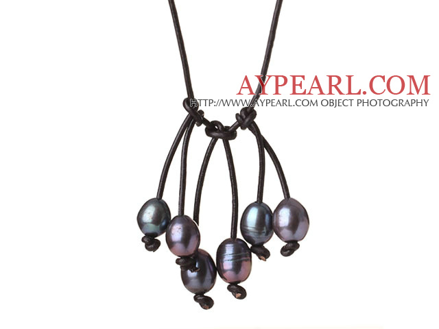 Fashion Simple Design 10-11mm Black Pearl Leather Pendant Necklace with Adjustable Length