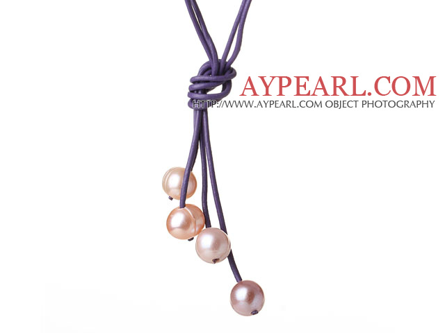 Fashion Simple Design 10-11mm Multi Color Freshwater Pearl with Purple Leather Necklace
