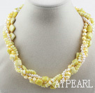 Multi Strand White Freshwater Pearl and Lemon Stone Necklace with Moonlight Clasp