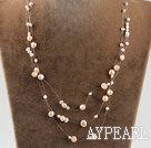 Wholesale bridal jewelry 17.7 inches pink and white pearl necklace