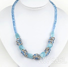 Wholesale marvelous blue crystal and aquamarine gemstone necklace